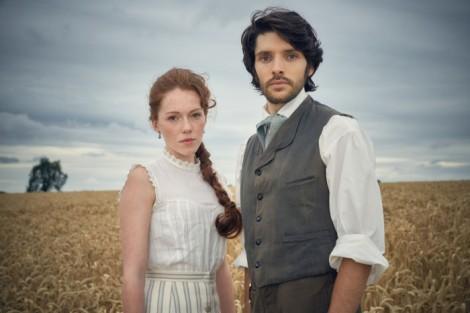 Charlotte Spencer and Colin Morgan as the Applebys (Robert Viglasky/BBC)